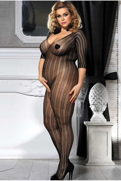 Black Striped Off Shoulder Bodystocking Plus size-Body stockings-PureDiva