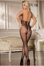 Fishnet Black Halter Open Cup Bodystocking-Body stockings-PureDiva