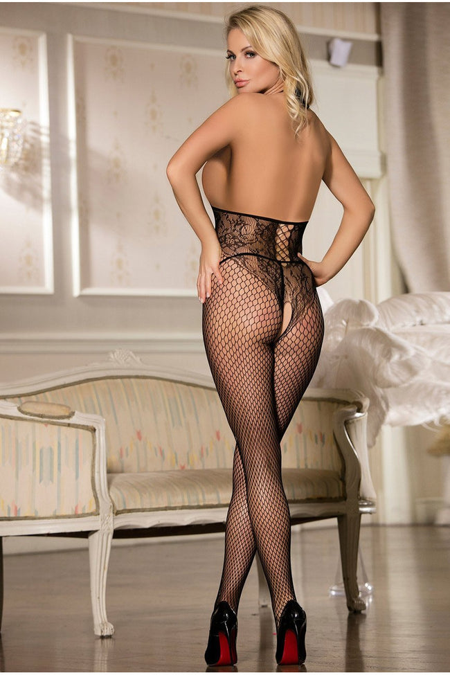 Fishnet Black Halter Open Cup Bodystocking - PureDiva