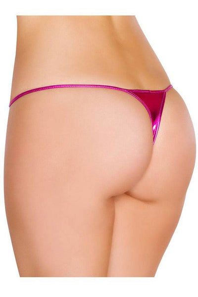 Pink Wet Look G-String Thong