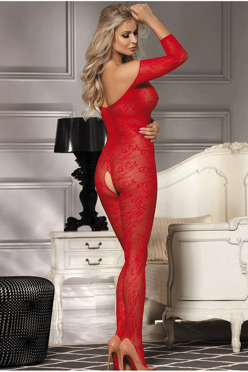 Red Lace up Bust bodystocking-Body stockings-PureDiva
