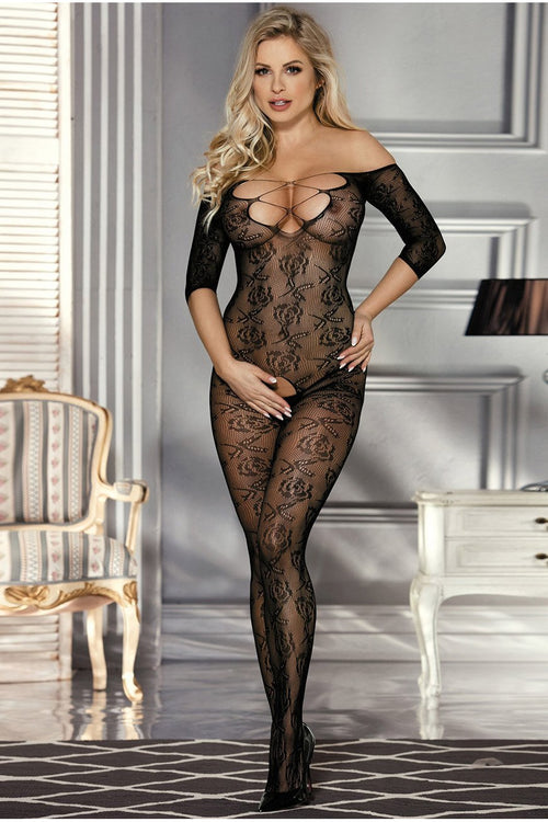 Black Lace up Bust bodystocking-Body stockings-PureDiva