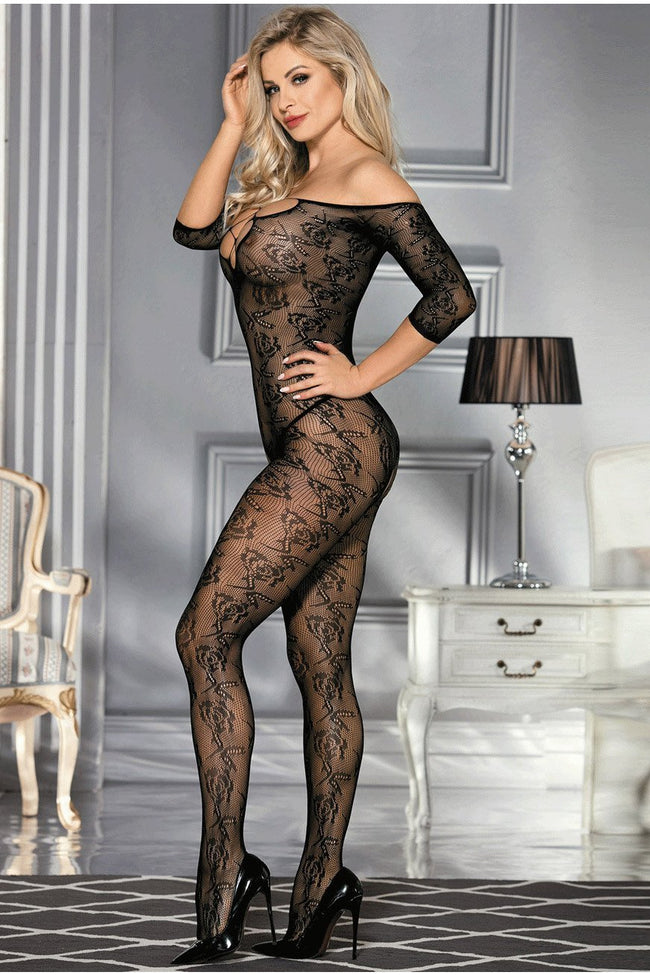 Black Lace up Bust bodystocking - PureDiva