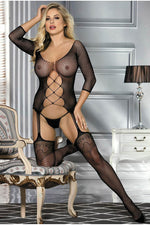 Criss Cross Cut Out Garter Bodystocking-Body stockings-PureDiva