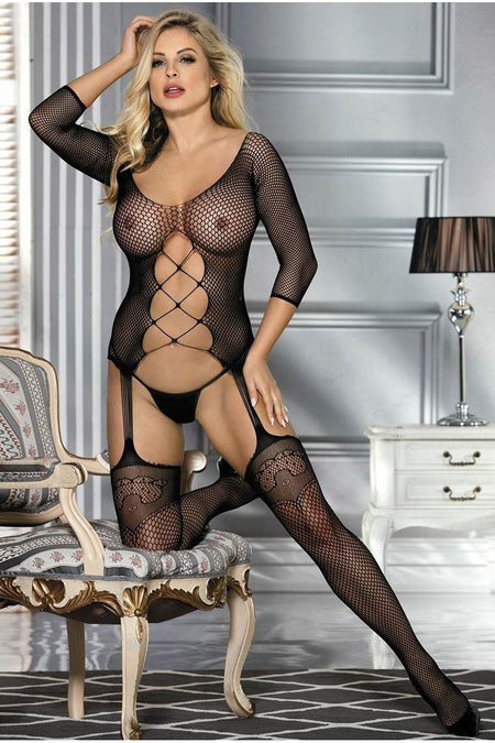 Plus size Black Net Halterneck Garter Bodystocking