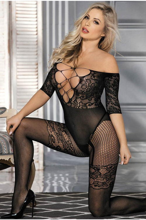 Plus size Long Sleeved Black Fishnet Garter Bodystocking-Body stockings-PureDiva