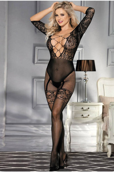 Long Sleeved Black Fishnet Garter Bodystocking