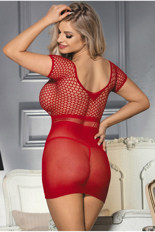 Sexy Seamless Red mini Dress-Babydoll-PureDiva