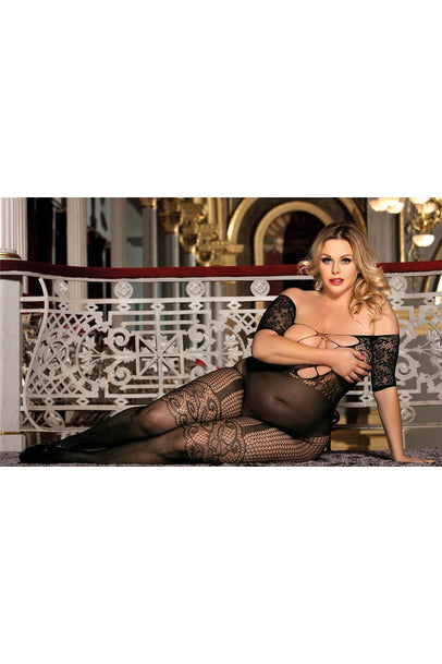 Plus size Long Sleeved Black Fishnet Garter Bodystocking