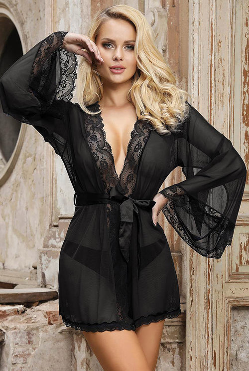 Black Sheer Desire Robe-Nightwear-PureDiva