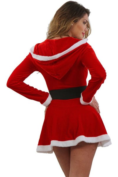 Sexy Christmas Hooded Furry Mini Dress