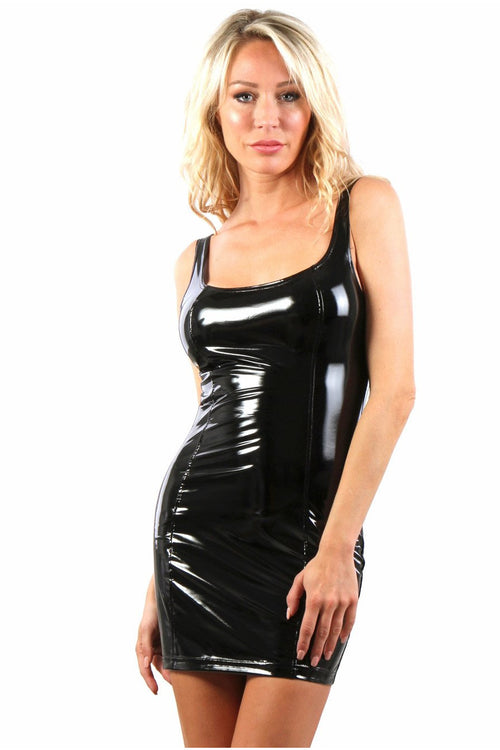 Sexy Black Vinyl  Mini Dress