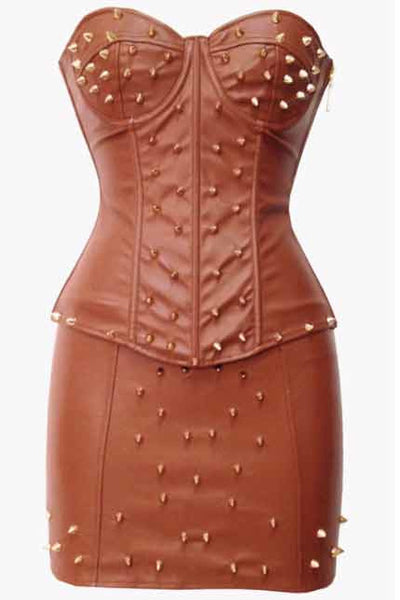Brown Leather Corset Studded Sets & Pettiskirt - PureDiva