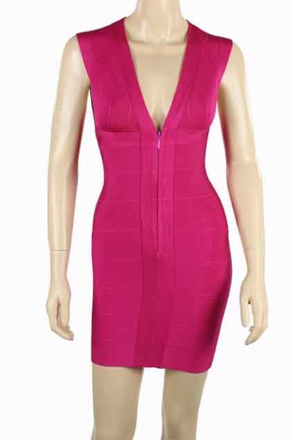Pink Deep V-Neck Bandage Dress-Party Dresses-PureDiva