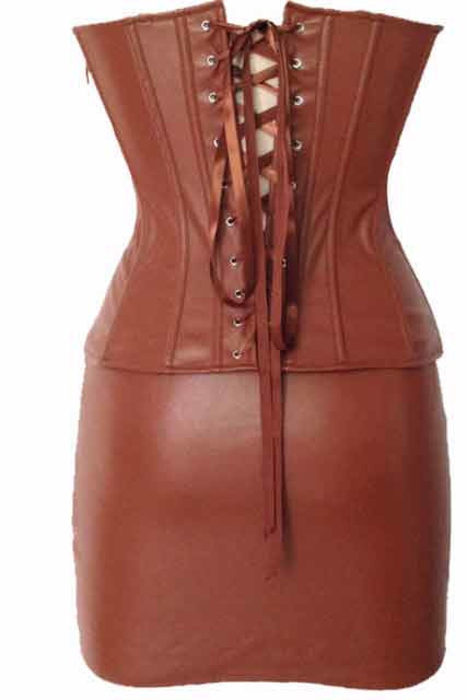 Brown Leather Corset Studded Sets & Pettiskirt-Wet Look & PVC-PureDiva