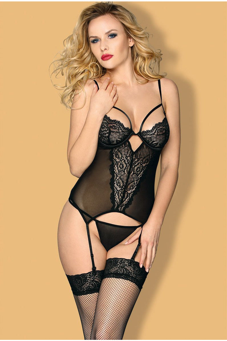 Sheer Black Lace Bustier and G-string Set-Corset-PureDiva