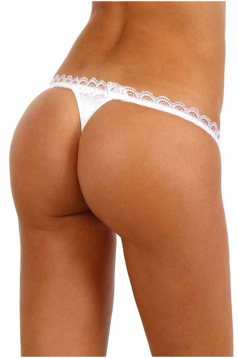white Satin Open Thong With Pearls-Knickers-PureDiva