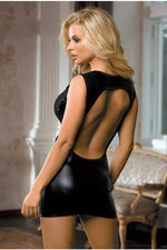 Open Back Wet Look Mini Dress-Babydoll-PureDiva