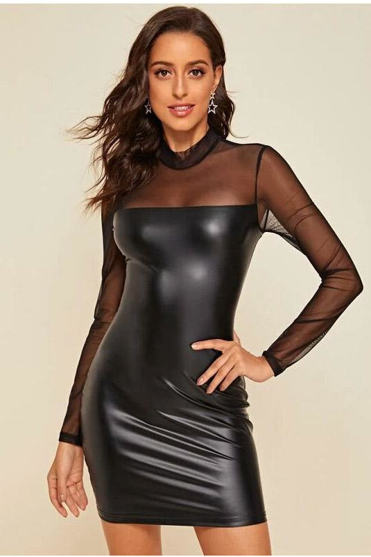 High Neck Sheer Mesh Insert PU Dress-Party Dresses-PureDiva