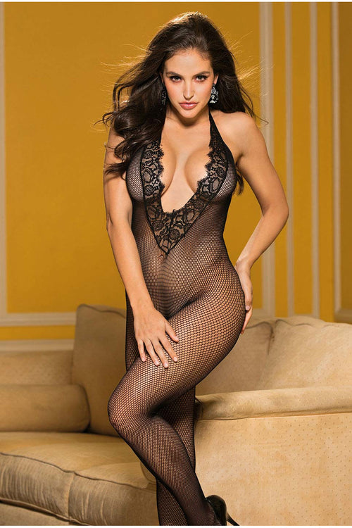 Fishnet & Eyelash Lace Bodystocking Black-Body stockings-PureDiva