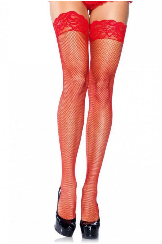 Red Fishnet Lace Top Stockings-Leg Wear-PureDiva