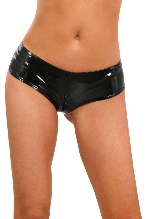 Vinyl Crotchless Panty with Zip-Knickers-PureDiva