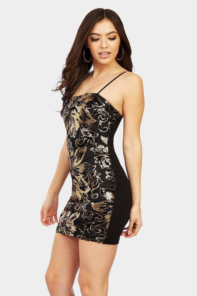Black Sequin Strappy Mini Dress - PureDiva