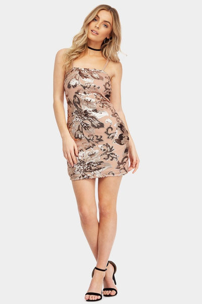 Gold Sequin Strappy Mini Dress - PureDiva