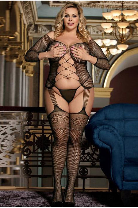 Black Lace up Bust bodystocking