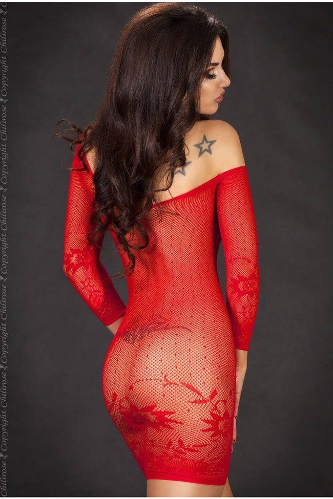 Seamless Red Floral Net Dress