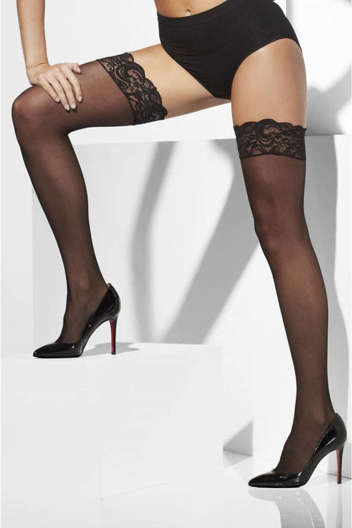 Stay-Up Lace Top Sheer Stockings-PureDiva