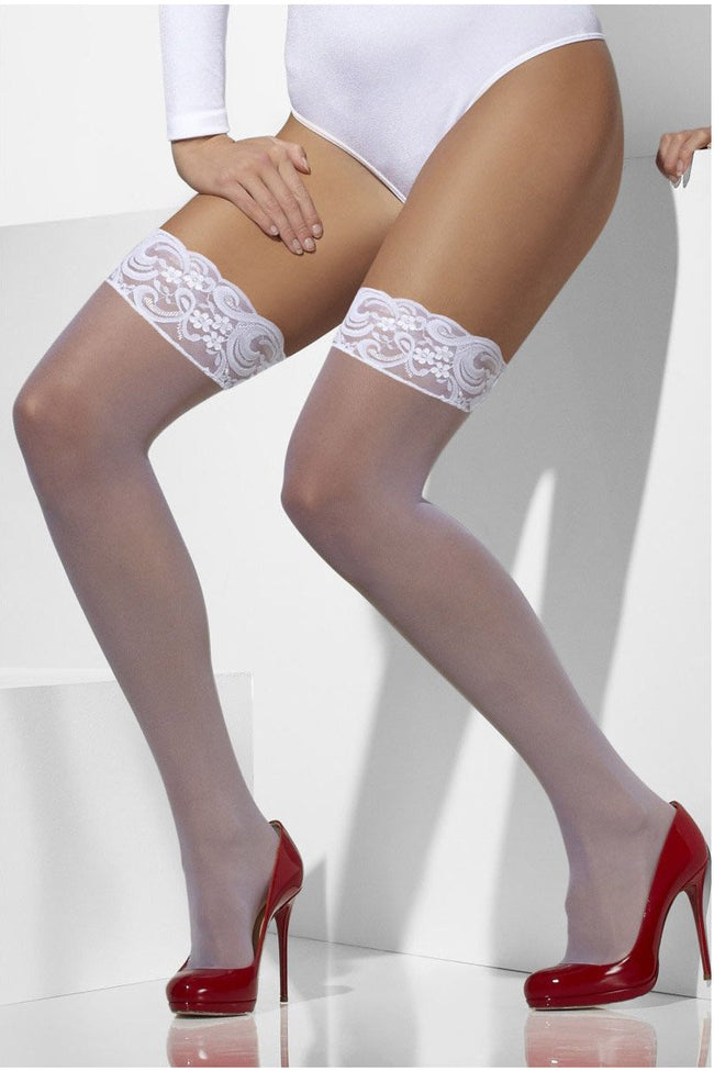 White Stay-Up Lace Top Sheer Stockings