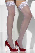 White Stay-Up Lace Top Sheer Stockings-Leg Wear-PureDiva