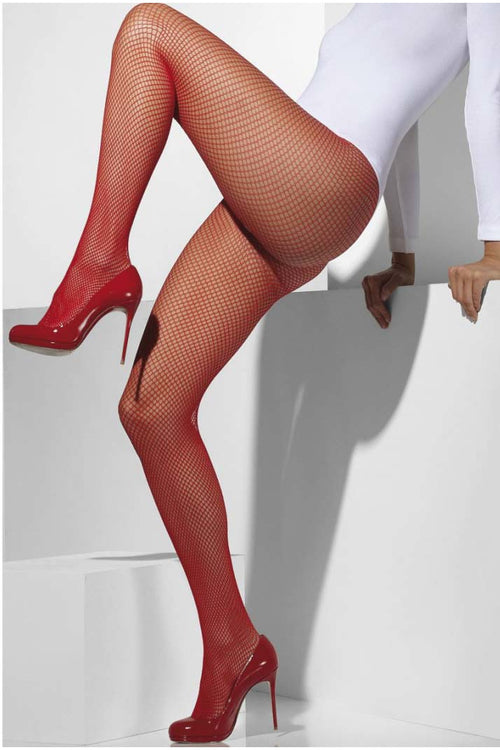 Red Fishnet Pantyhose-PureDiva