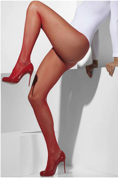 Red Fishnet Pantyhose