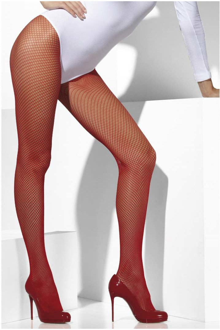 Red Fishnet Pantyhose-Leg Wear-PureDiva