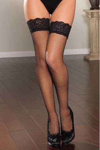 Fishnet Thigh High Stockings with Lace Top - PureDiva