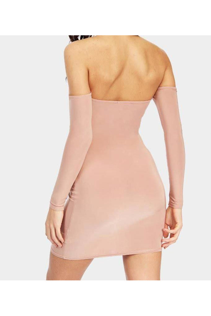 Nude off the shoulder bodycon dress-Party Dresses-PureDiva