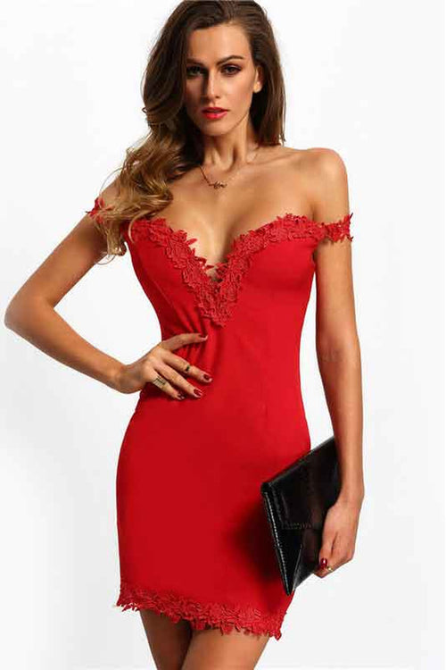 Red Sweetheart Neck Lace Slim Bodycon Dress