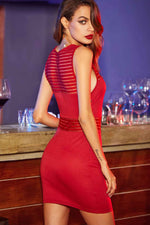 Red Bodycon Dress-Party Dresses-PureDiva