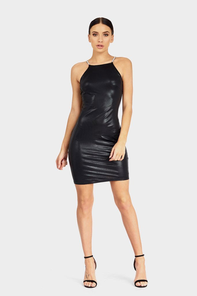 Black Dress Diamante back strap-Party Dresses-PureDiva