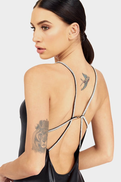 Black Dress Diamante back strap - PureDiva