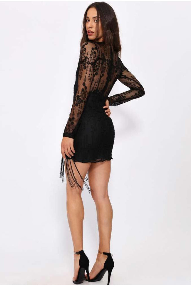 Black lace tassel dress - PureDiva