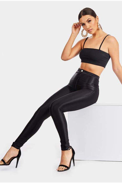 Sexy Black High Shine Jeggings