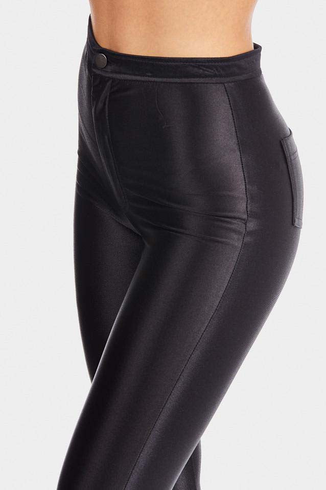 Sexy Black High Shine Jeggings-Leg Wear-PureDiva