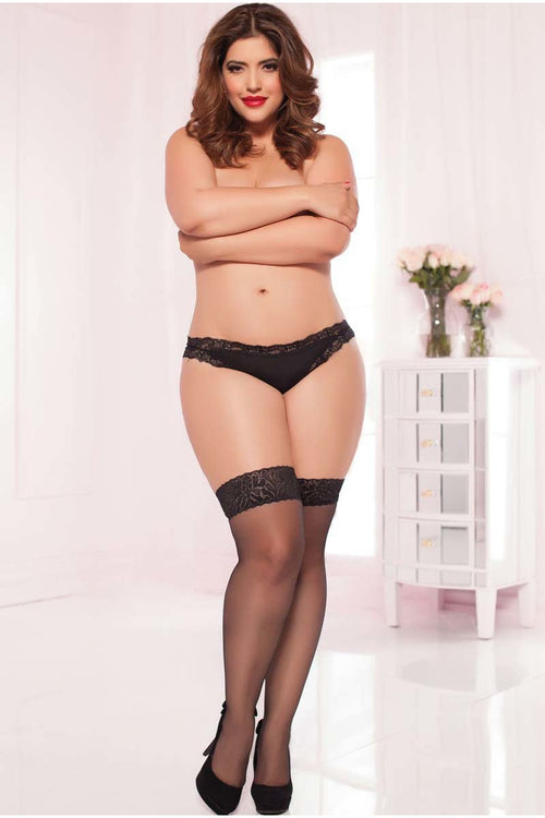Black Sheer Lace Top Thigh High - PureDiva