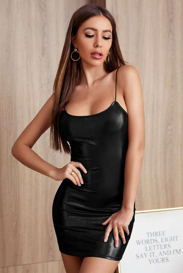 Black Metallic Wetlook Mini Dress-Party Dresses-PureDiva