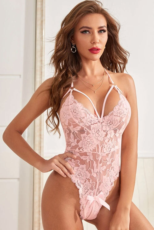 Blush Pink Crotchless Lace Body-Teddy-PureDiva