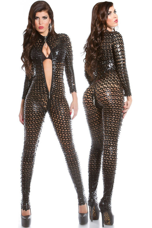Sexy KouCla wetlook catsuit with two way zip