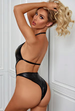 Matte Wet Look Halter Teddy-Teddy-PureDiva